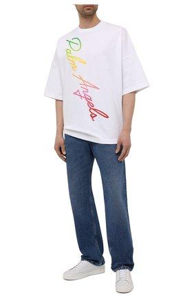 Мужская хлопковая футболка PALM ANGELS белого цвета, арт. PMAA041S21JER0020184 | Фото 2