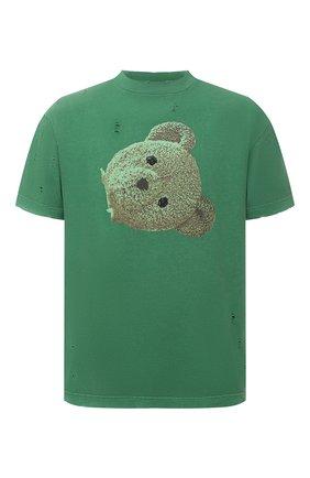 Мужская хлопковая футболка PALM ANGELS зеленого цвета, арт. PMAA001S21JER0145510 | Фото 1