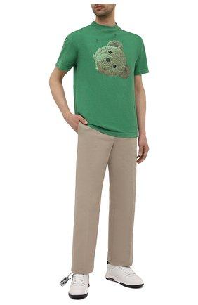 Мужская хлопковая футболка PALM ANGELS зеленого цвета, арт. PMAA001S21JER0145510 | Фото 2