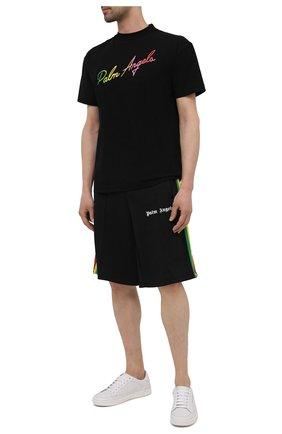Мужская хлопковая футболка PALM ANGELS черного цвета, арт. PMAA001S21JER0131084 | Фото 2