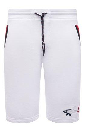 Мужские хлопковые шорты PAUL&SHARK белого цвета, арт. 21411852/C00 | Фото 1 (Длина Шорты М: Ниже колена; Кросс-КТ: Трикотаж; Материал внешний: Хлопок; Принт: Без принта)
