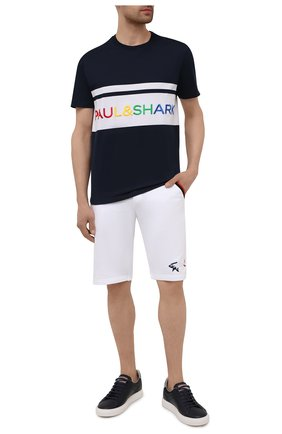 Мужские хлопковые шорты PAUL&SHARK белого цвета, арт. 21411852/C00 | Фото 2 (Длина Шорты М: Ниже колена; Кросс-КТ: Трикотаж; Материал внешний: Хлопок; Принт: Без принта)