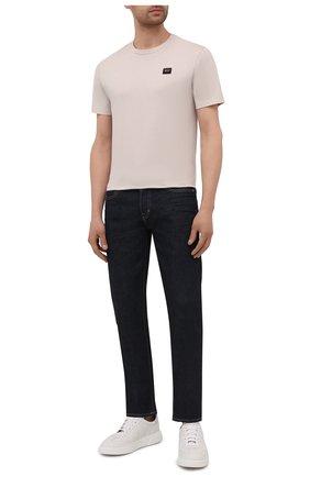 Мужская хлопковая футболка PAUL&SHARK бежевого цвета, арт. C0P1002/C00 | Фото 2