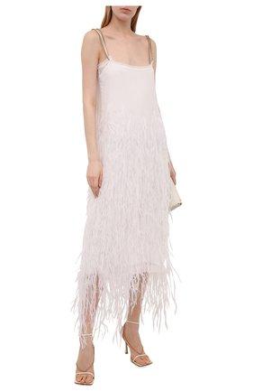 Женское шелковое платье с отделкой перьями N21 белого цвета, арт. 21E N2S0/H091/5566   Фото 2