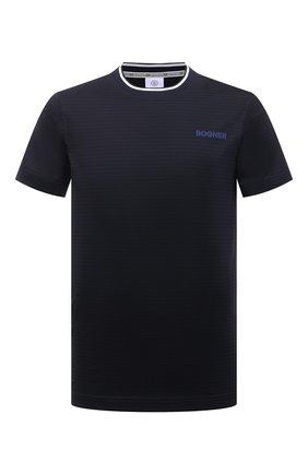 Мужская хлопковая футболка BOGNER темно-синего цвета, арт. 58056798 | Фото 1 (Стили: Кэжуэл; Рукава: Короткие; Длина (для топов): Стандартные; Материал внешний: Хлопок; Принт: С принтом)