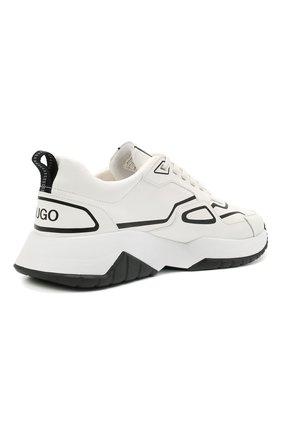 Мужские кожаные кроссовки HUGO белого цвета, арт. 50451639 | Фото 4 (Подошва: Массивная; Стили: Спорт)