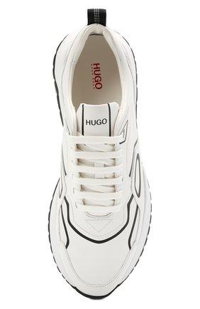 Мужские кожаные кроссовки HUGO белого цвета, арт. 50451639 | Фото 5 (Подошва: Массивная; Стили: Спорт)