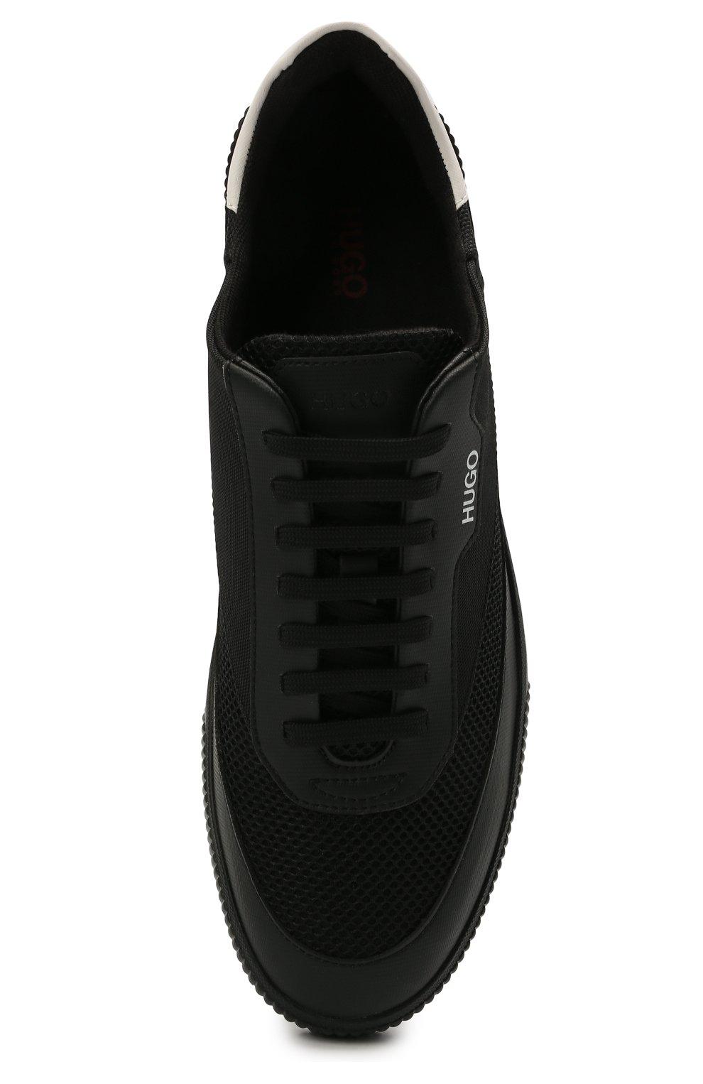 Мужские комбинированные кеды HUGO черного цвета, арт. 50455514 | Фото 5 (Материал внешний: Текстиль; Подошва: Плоская)