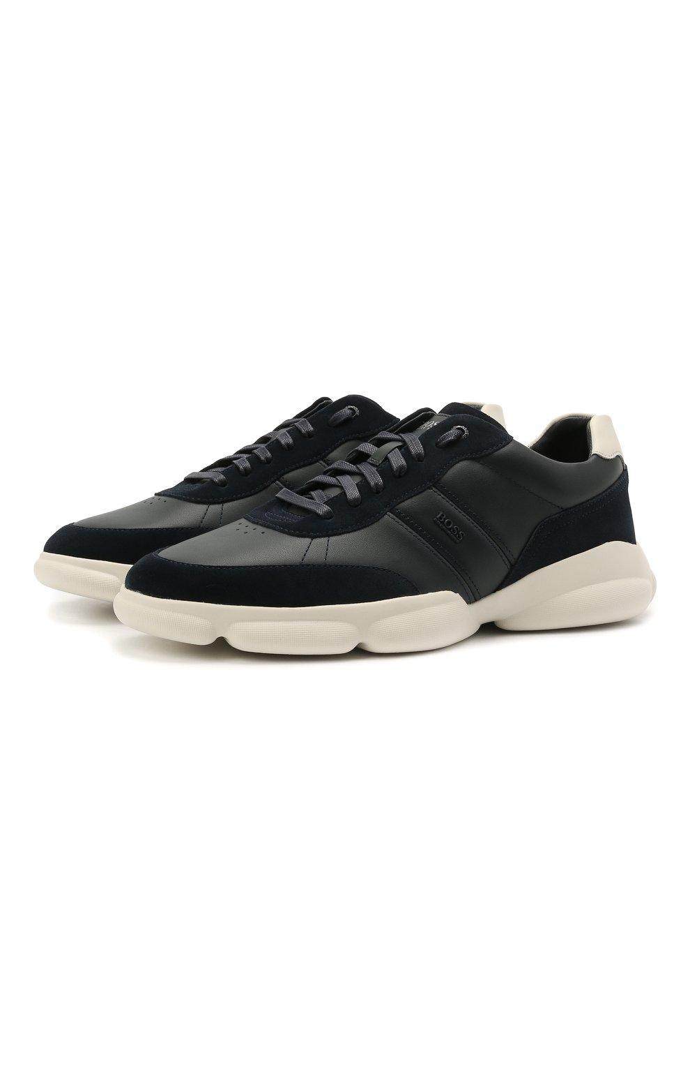 Мужские кожаные кроссовки BOSS темно-синего цвета, арт. 50454970 | Фото 1