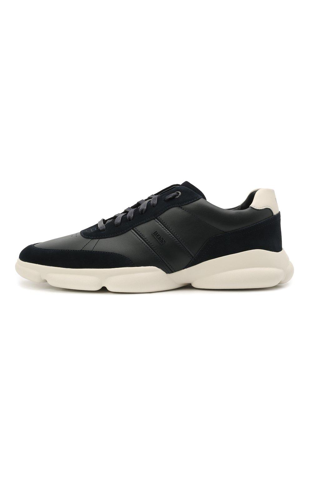 Мужские кожаные кроссовки BOSS темно-синего цвета, арт. 50454970 | Фото 3