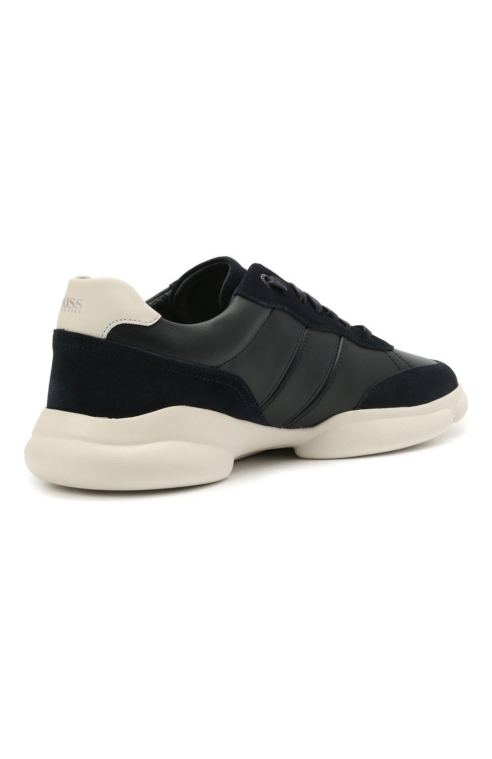Мужские кожаные кроссовки BOSS темно-синего цвета, арт. 50454970 | Фото 4