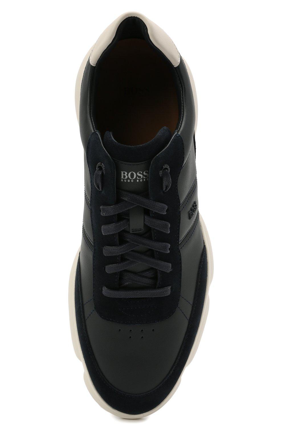 Мужские кожаные кроссовки BOSS темно-синего цвета, арт. 50454970 | Фото 5