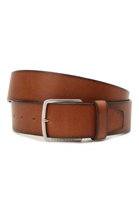 Мужской кожаный ремень BOSS коричневого цвета, арт. 50424683 | Фото 1
