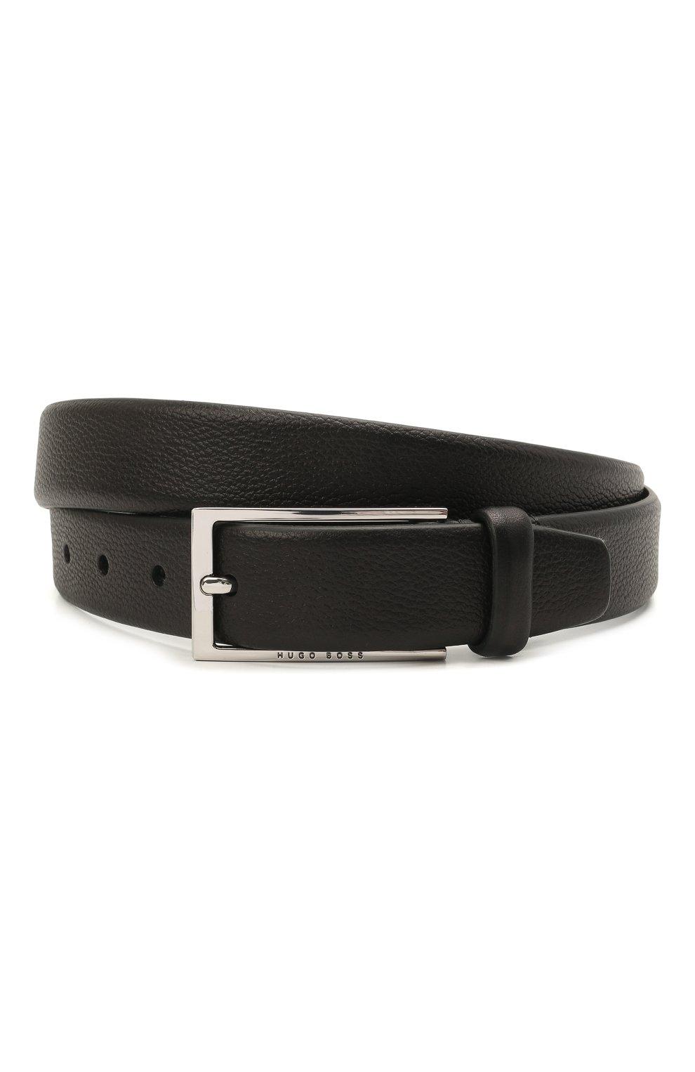 Мужской кожаный ремень BOSS черного цвета, арт. 50435216 | Фото 1
