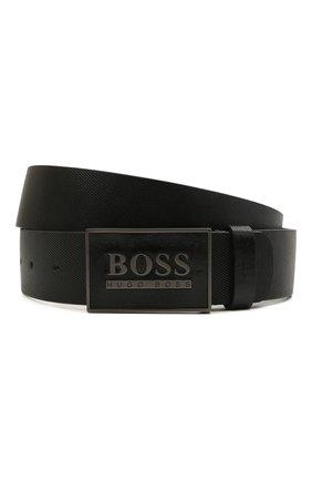 Мужской кожаный ремень BOSS черного цвета, арт. 50440833 | Фото 1