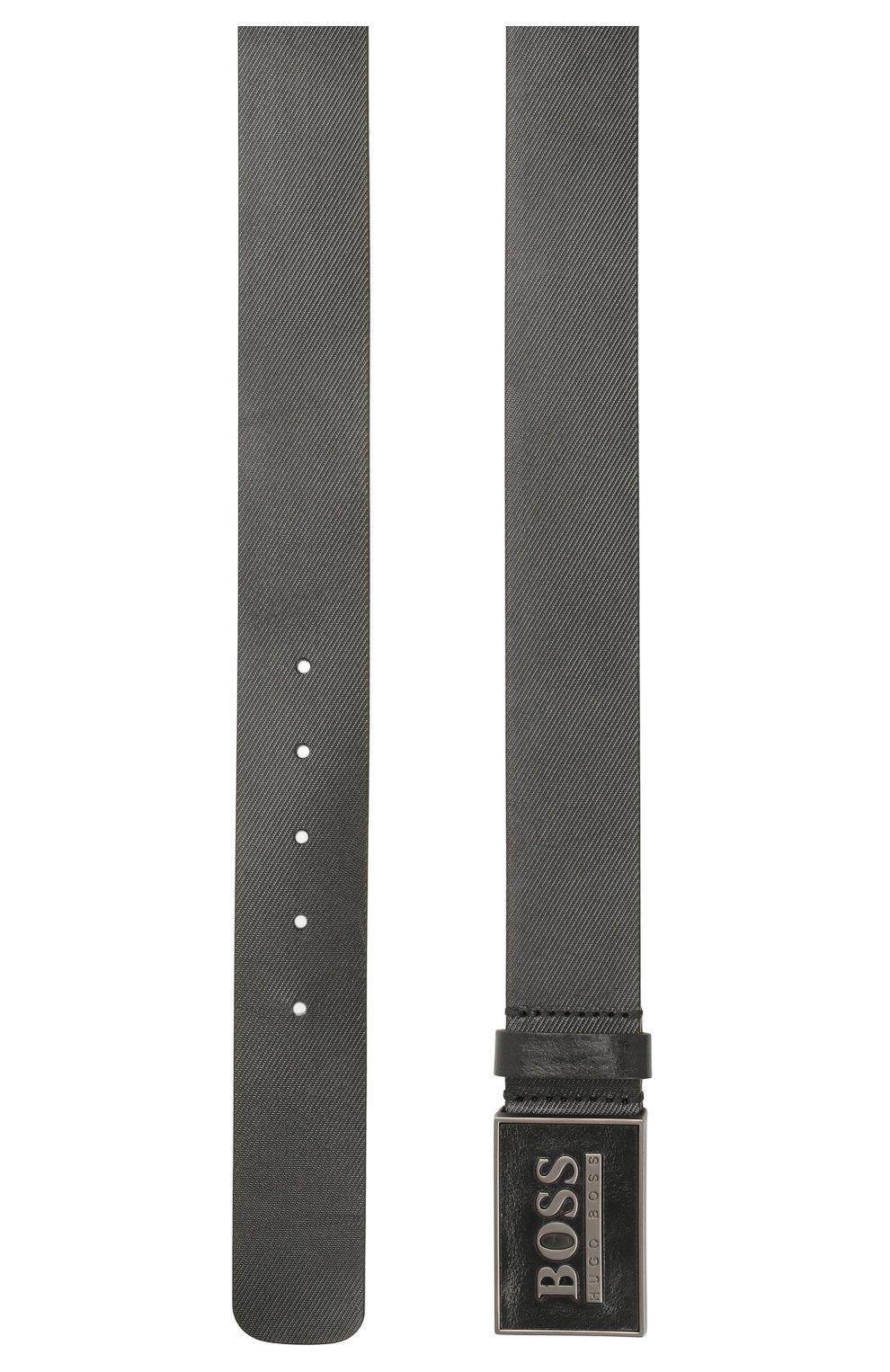 Мужской кожаный ремень BOSS черного цвета, арт. 50440833   Фото 2