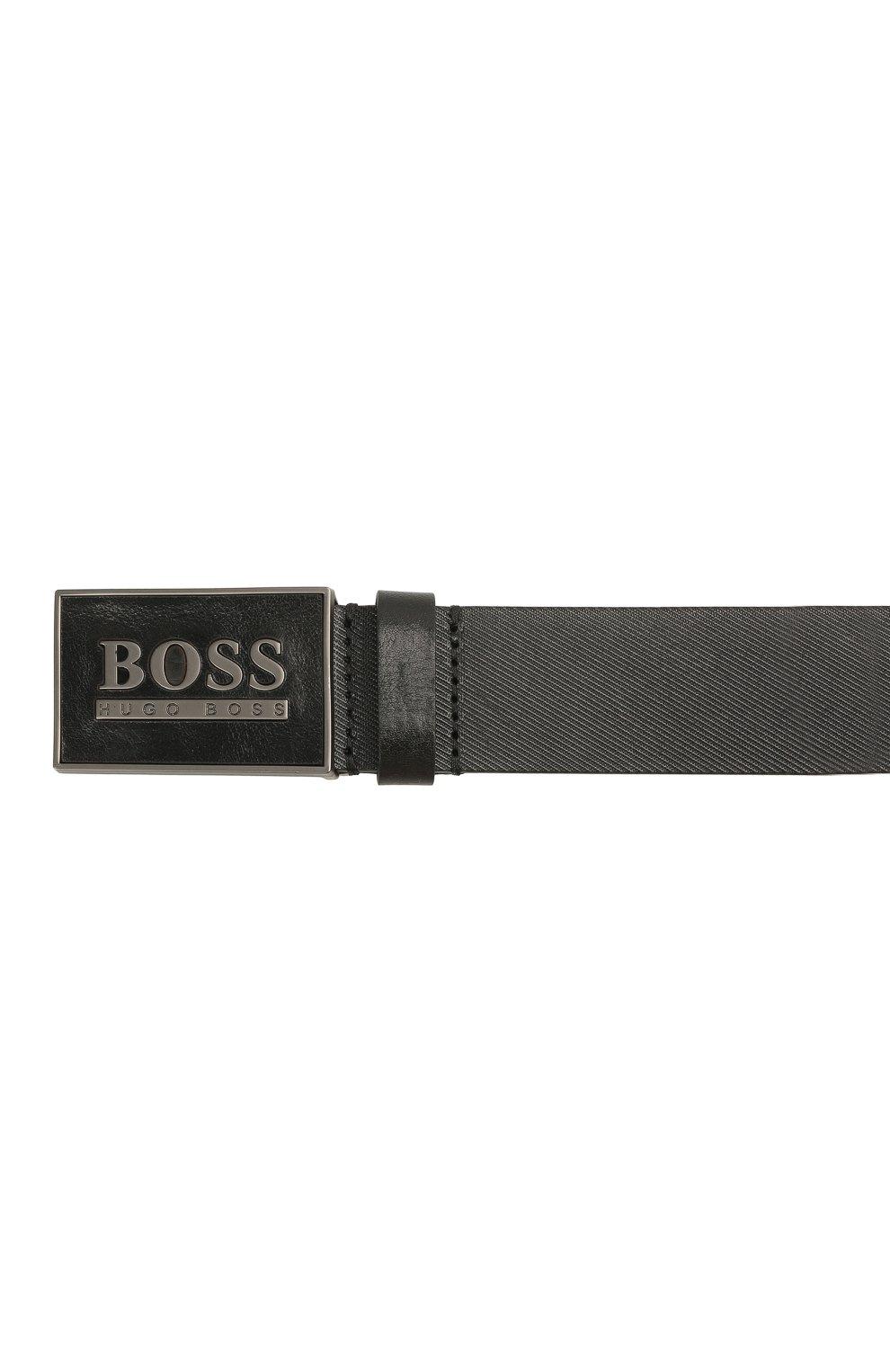 Мужской кожаный ремень BOSS черного цвета, арт. 50440833   Фото 3