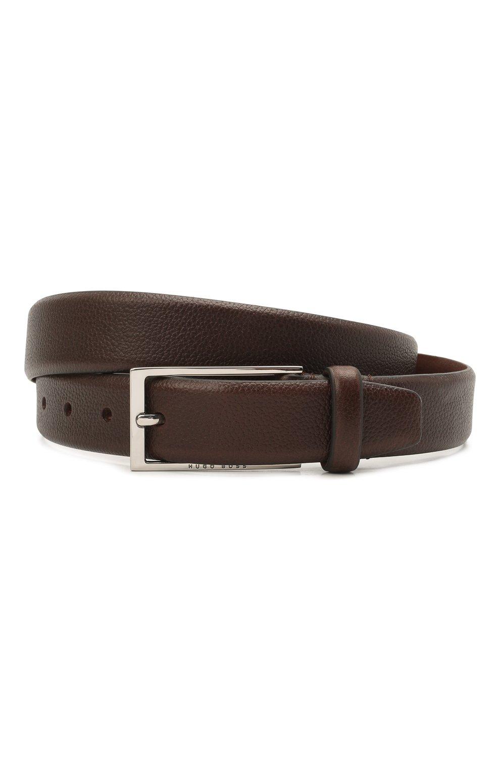 Мужской кожаный ремень BOSS коричневого цвета, арт. 50435216 | Фото 1