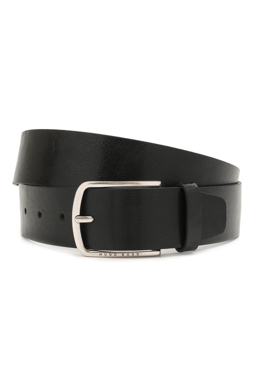 Мужской кожаный ремень BOSS черного цвета, арт. 50455245   Фото 1