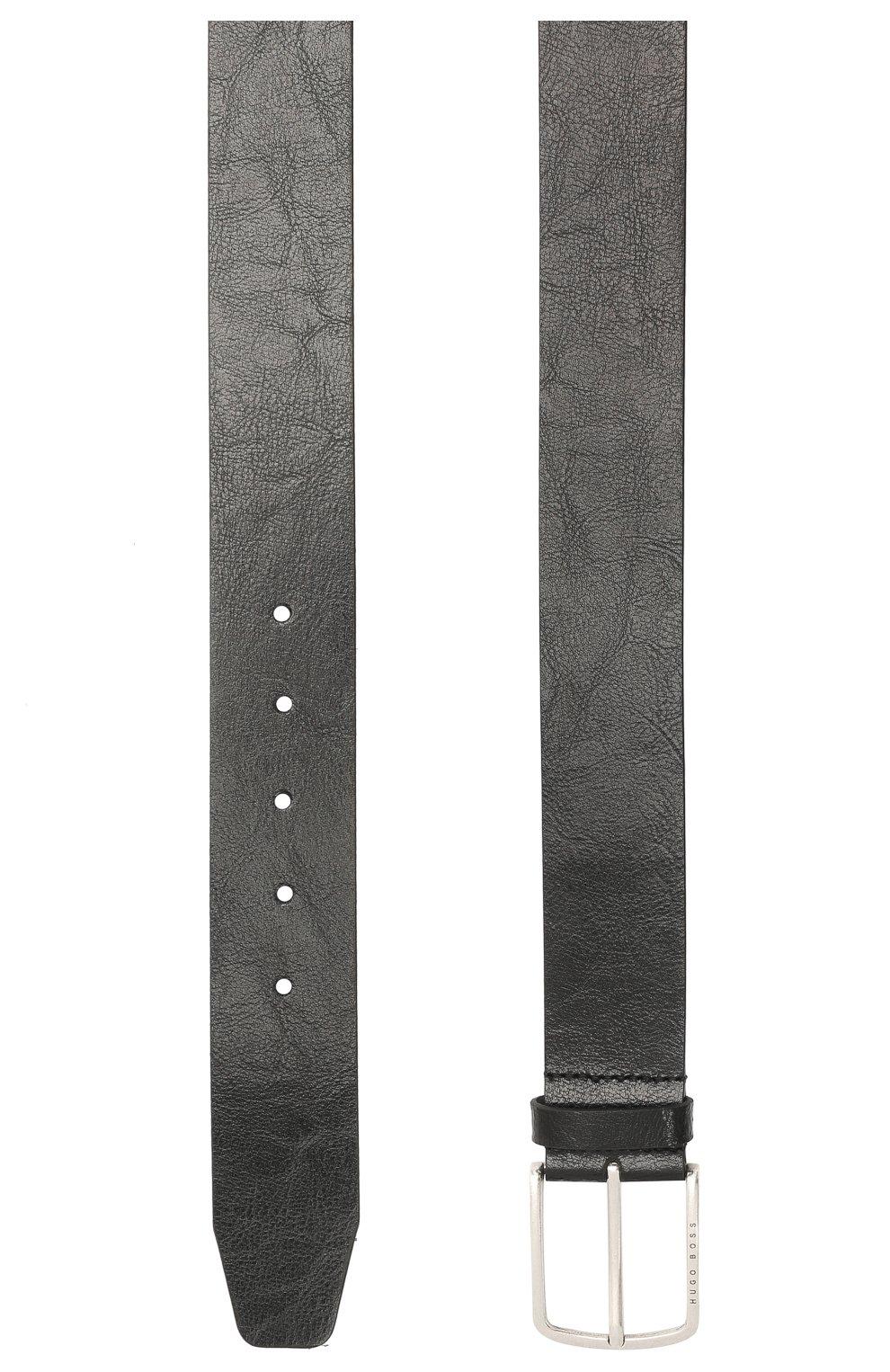 Мужской кожаный ремень BOSS черного цвета, арт. 50455245   Фото 2