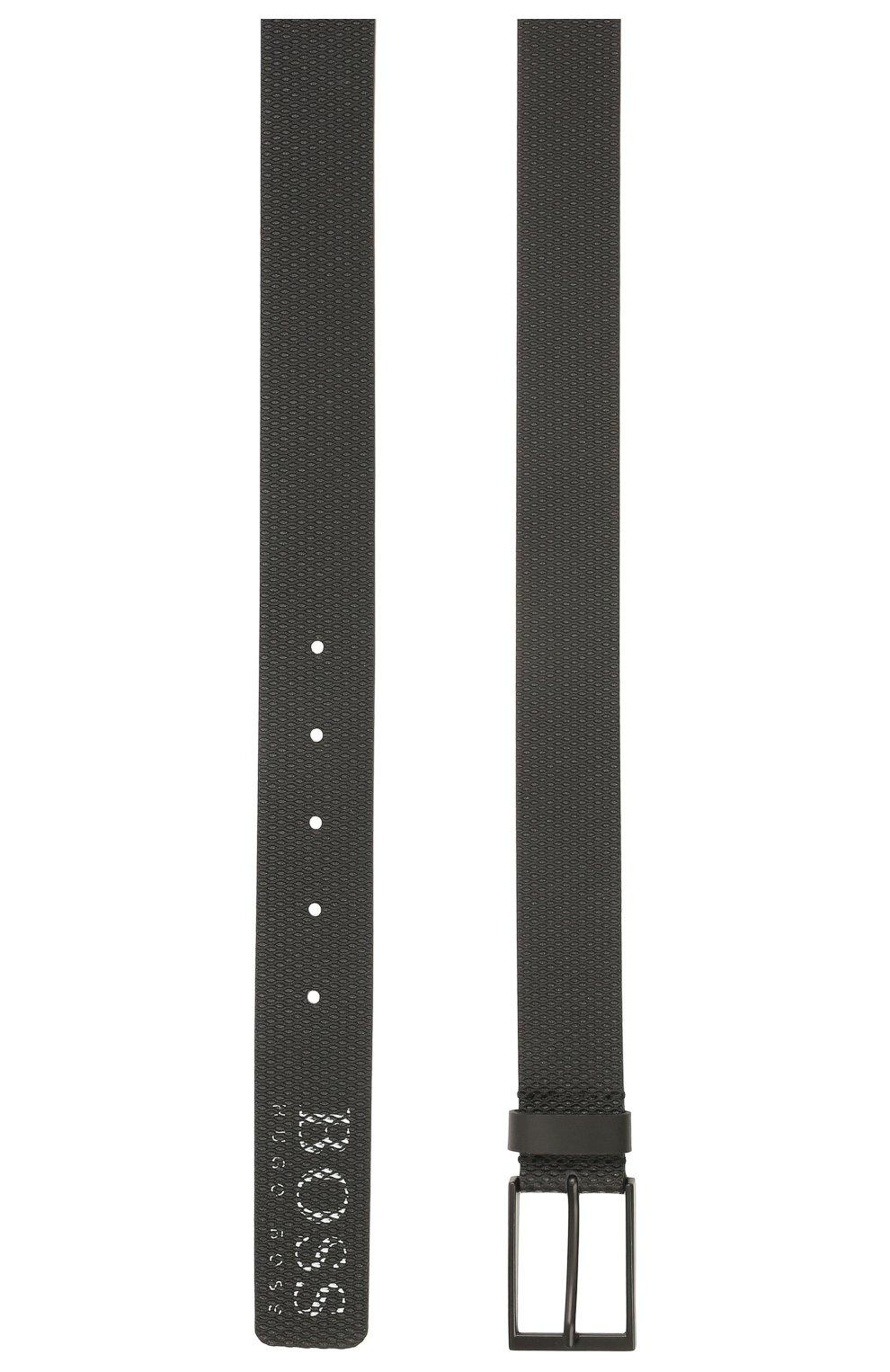 Мужской кожаный ремень BOSS черного цвета, арт. 50455235 | Фото 2