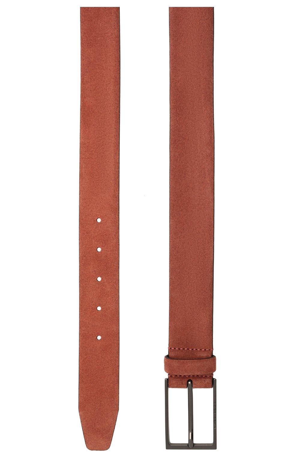 Мужской замшевый ремень  BOSS коричневого цвета, арт. 50375225 | Фото 2