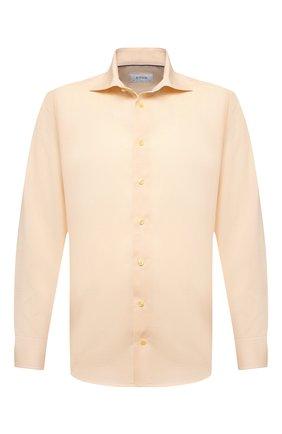 Мужская хлопковая сорочка ETON желтого цвета, арт. 1000 01767 | Фото 1 (Рубашки М: Regular Fit; Манжеты: На пуговицах; Стили: Классический; Рукава: Длинные; Воротник: Акула; Материал внешний: Хлопок; Случай: Формальный; Принт: Однотонные; Длина (для топов): Стандартные)