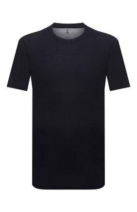 Мужская футболка из шелка и хлопка BRUNELLO CUCINELLI темно-синего цвета, арт. MTS371308 | Фото 1