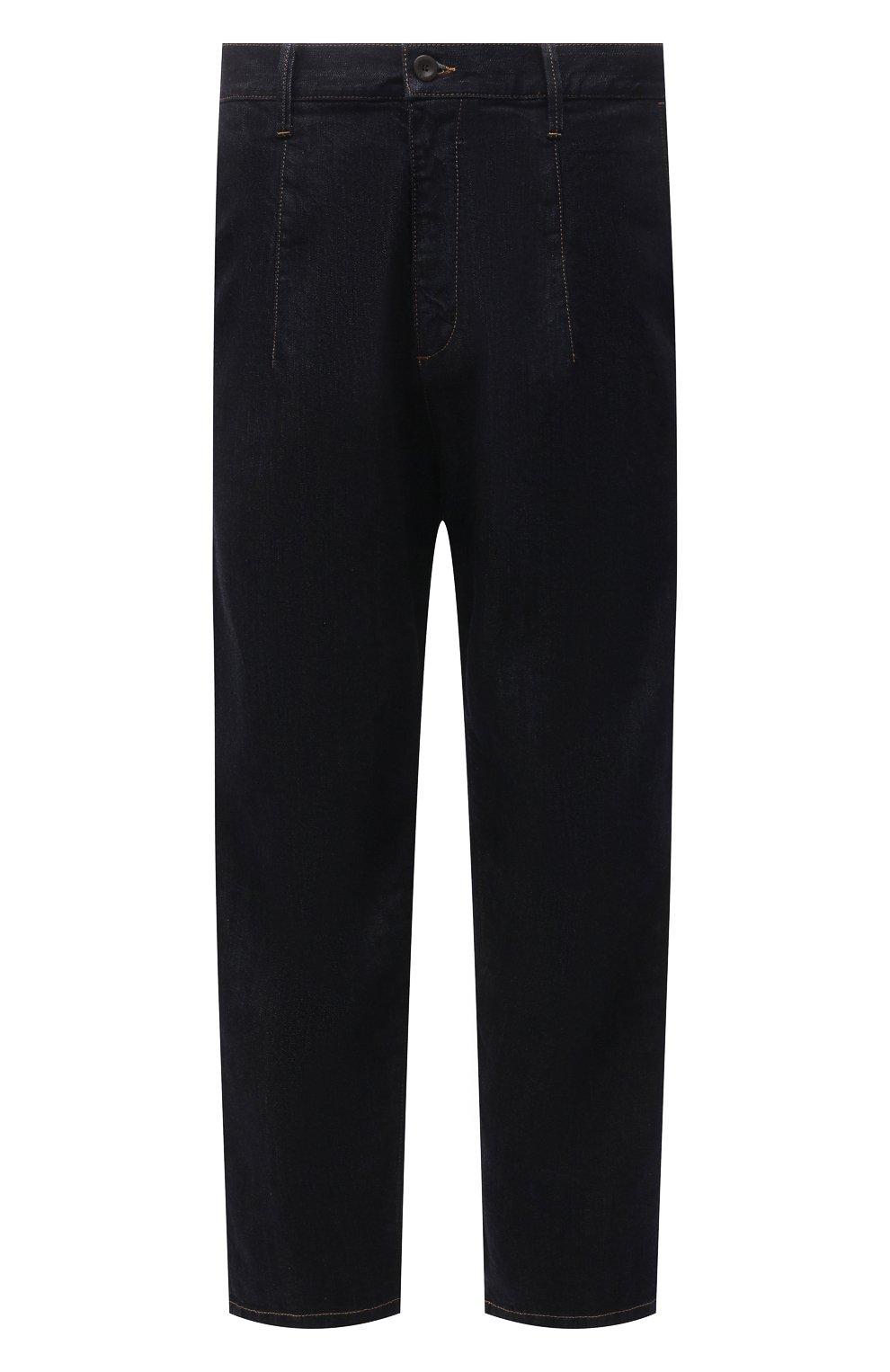 Мужские джинсы GIORGIO ARMANI синего цвета, арт. 3KSP61/SD0TZ | Фото 1 (Силуэт М (брюки): Широкие; Кросс-КТ: Деним; Длина (брюки, джинсы): Стандартные; Материал внешний: Хлопок, Деним; Стили: Кэжуэл)