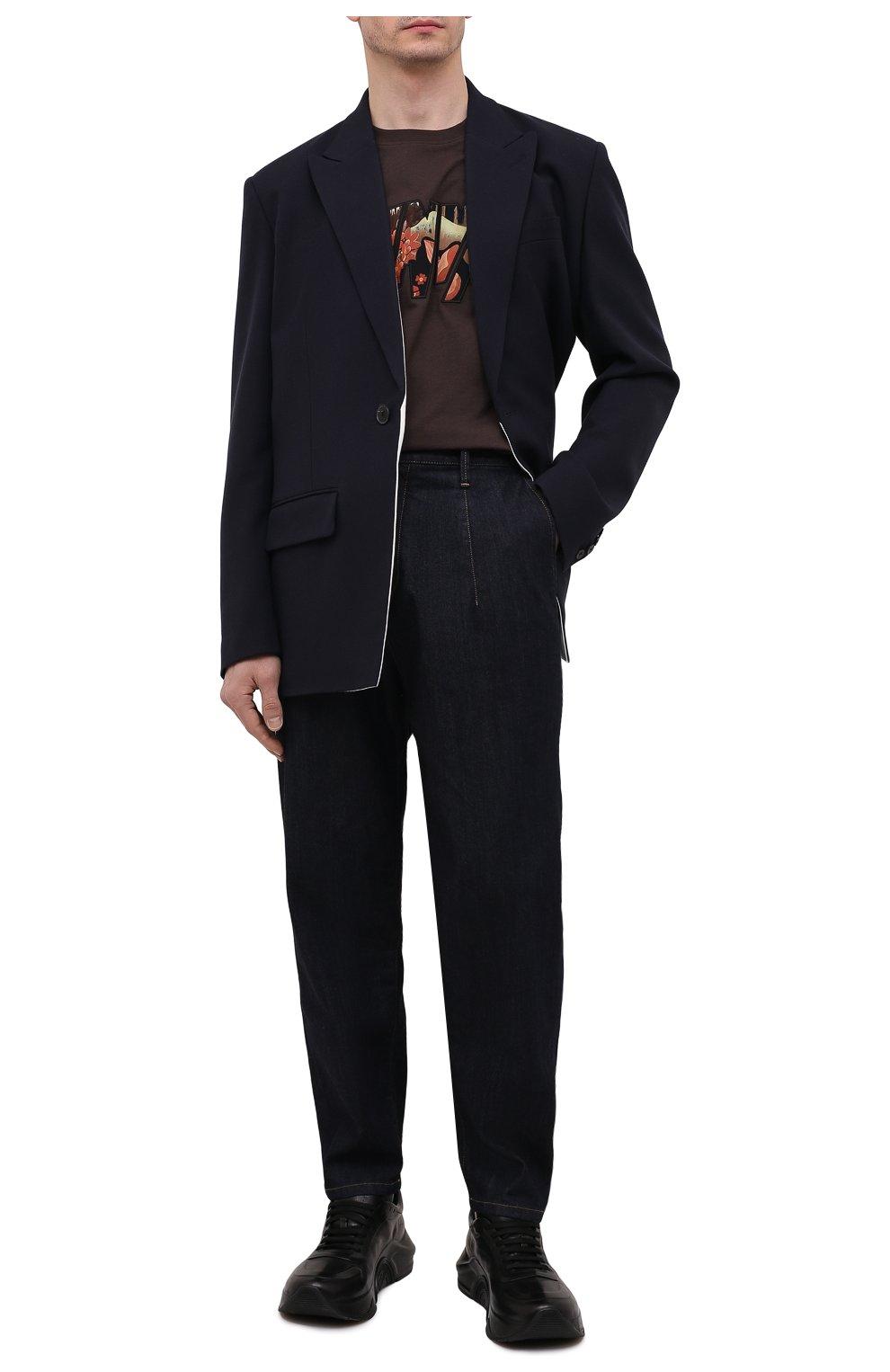 Мужские джинсы GIORGIO ARMANI синего цвета, арт. 3KSP61/SD0TZ | Фото 2 (Силуэт М (брюки): Широкие; Кросс-КТ: Деним; Длина (брюки, джинсы): Стандартные; Материал внешний: Хлопок, Деним; Стили: Кэжуэл)