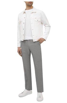 Мужские брюки из шерсти и льна CORNELIANI серого цвета, арт. 875B05-1114165/02   Фото 2