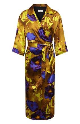 Женское платье из вискозы и шелка DRIES VAN NOTEN желтого цвета, арт. 211-11009-2089 | Фото 1 (Материал подклада: Вискоза; Случай: Коктейльный; Материал внешний: Вискоза; Женское Кросс-КТ: Платье-одежда; Длина Ж (юбки, платья, шорты): Миди; Рукава: 3/4; Стили: Гламурный)