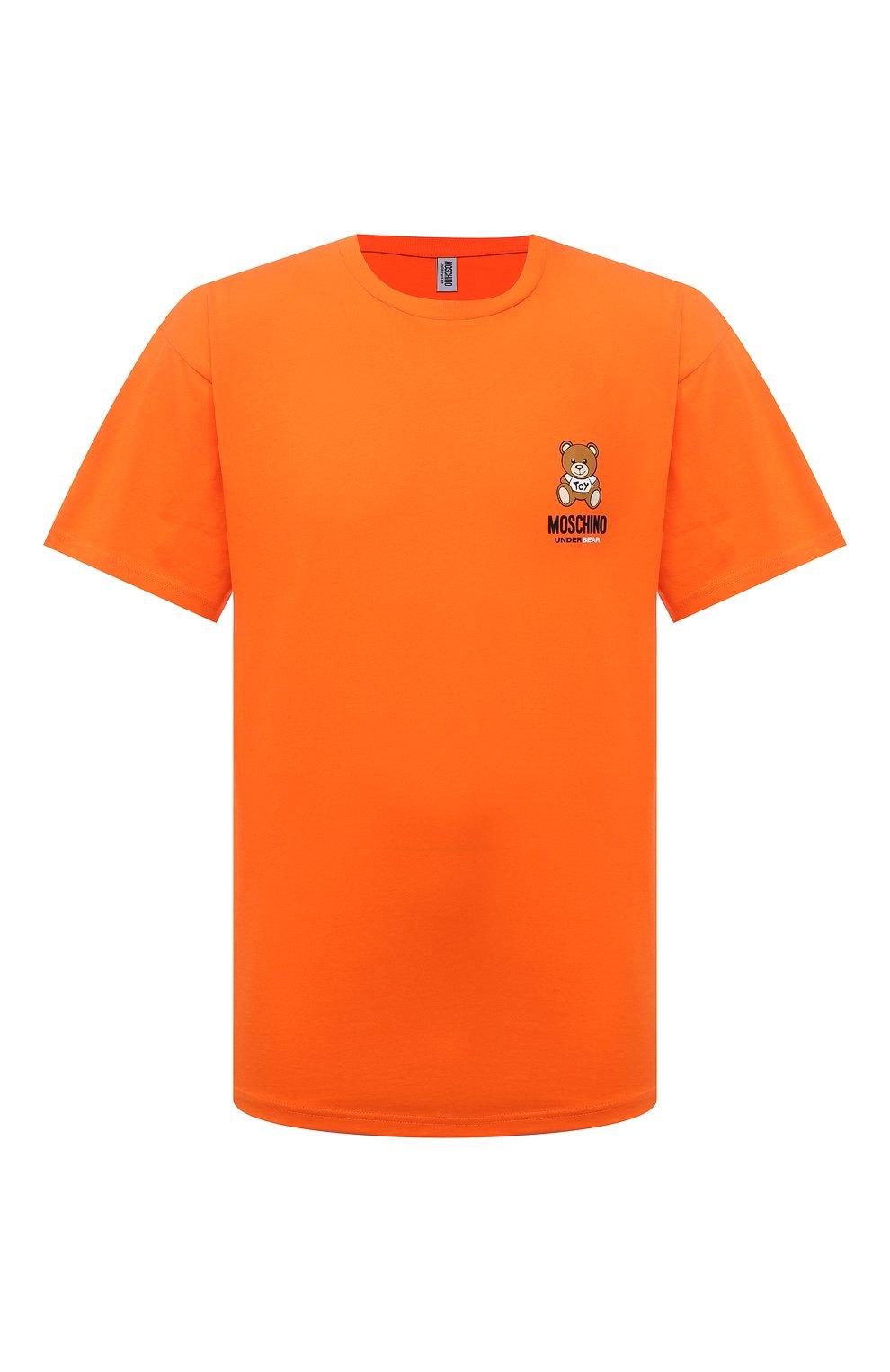 Мужская хлопковая футболка MOSCHINO оранжевого цвета, арт. A1923/8125 | Фото 1 (Кросс-КТ: домашняя одежда; Рукава: Короткие; Длина (для топов): Стандартные; Материал внешний: Хлопок; Мужское Кросс-КТ: Футболка-белье)