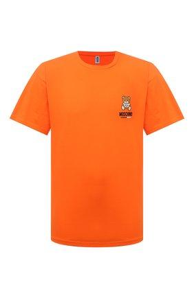 Мужская хлопковая футболка MOSCHINO оранжевого цвета, арт. A1923/8125 | Фото 1 (Рукава: Короткие; Длина (для топов): Стандартные; Мужское Кросс-КТ: Футболка-белье; Материал внешний: Хлопок; Кросс-КТ: домашняя одежда)