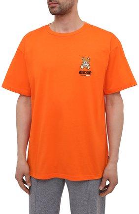 Мужская хлопковая футболка MOSCHINO оранжевого цвета, арт. A1923/8125 | Фото 3 (Кросс-КТ: домашняя одежда; Рукава: Короткие; Длина (для топов): Стандартные; Материал внешний: Хлопок; Мужское Кросс-КТ: Футболка-белье)