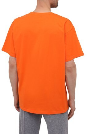 Мужская хлопковая футболка MOSCHINO оранжевого цвета, арт. A1923/8125 | Фото 4 (Кросс-КТ: домашняя одежда; Рукава: Короткие; Длина (для топов): Стандартные; Материал внешний: Хлопок; Мужское Кросс-КТ: Футболка-белье)