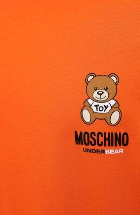 Мужская хлопковая футболка MOSCHINO оранжевого цвета, арт. A1923/8125 | Фото 5 (Кросс-КТ: домашняя одежда; Рукава: Короткие; Длина (для топов): Стандартные; Материал внешний: Хлопок; Мужское Кросс-КТ: Футболка-белье)