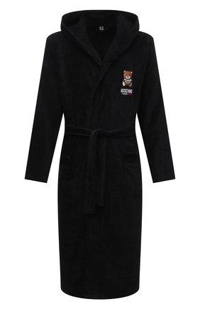 Мужской хлопковый халат MOSCHINO черного цвета, арт. A7301/8140 | Фото 1 (Материал внешний: Хлопок; Рукава: Длинные; Длина (верхняя одежда): Длинные; Кросс-КТ: домашняя одежда)