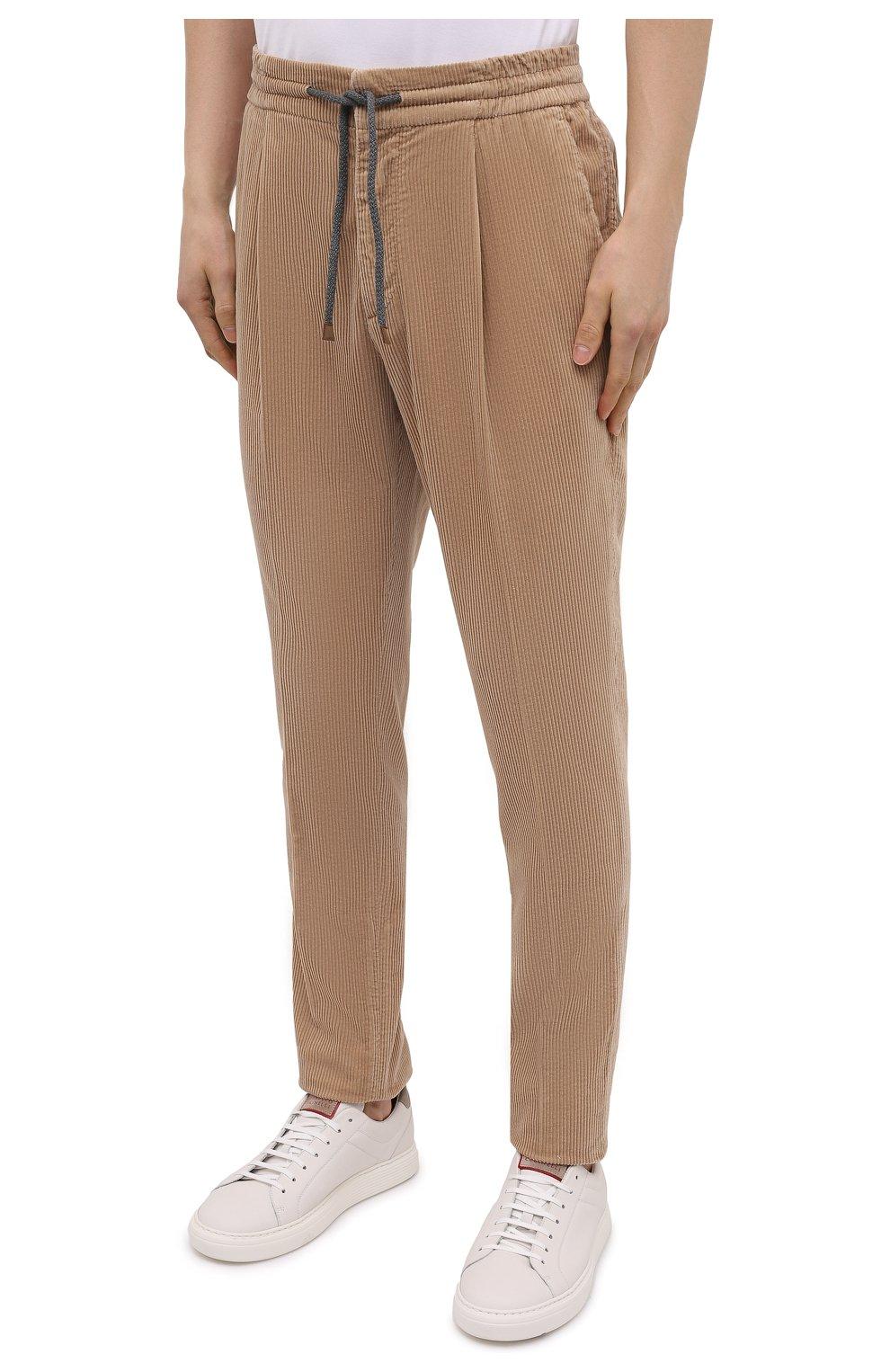 Мужские хлопковые брюки BRUNELLO CUCINELLI бежевого цвета, арт. M280DE1740 | Фото 3