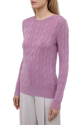 Женский кашемировый пуловер RALPH LAUREN светло-розового цвета, арт. 290615209 | Фото 3