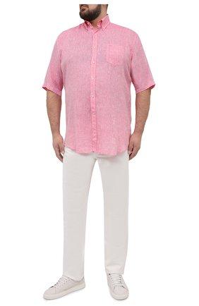 Мужская льняная рубашка PAUL&SHARK розового цвета, арт. 21413109/F7E | Фото 2