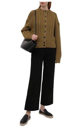 Женские кожаные эспадрильи JOSEPH черного цвета, арт. J036020A/13021 | Фото 2 (Каблук высота: Низкий; Материал внутренний: Текстиль, Натуральная кожа; Подошва: Платформа)