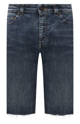 Женские джинсовые шорты SAINT LAURENT синего цвета, арт. 661277/Y951D | Фото 1 (Материал внешний: Хлопок, Деним; Длина Ж (юбки, платья, шорты): До колена; Женское Кросс-КТ: Шорты-одежда)