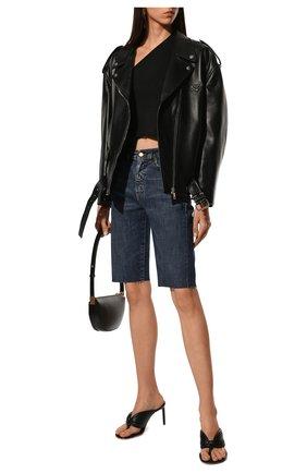 Женские джинсовые шорты SAINT LAURENT синего цвета, арт. 661277/Y951D | Фото 2 (Материал внешний: Хлопок, Деним; Длина Ж (юбки, платья, шорты): До колена; Женское Кросс-КТ: Шорты-одежда)