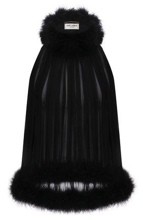 Женский шелковый топ SAINT LAURENT черного цвета, арт. 660945/Y115W   Фото 1