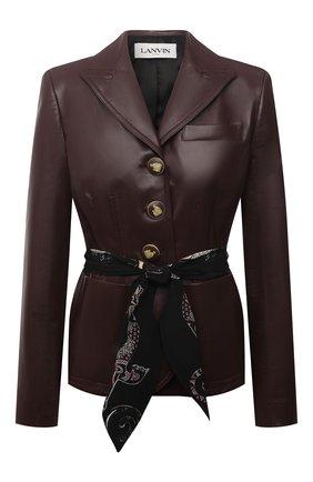 Женский кожаный жакет LANVIN бордового цвета, арт. RW-JA0117-L003-E21 | Фото 1