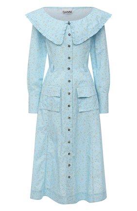 Женское хлопковое платье GANNI голубого цвета, арт. F5910 | Фото 1