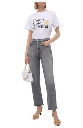 Женская хлопковая футболка GANNI белого цвета, арт. T2788 | Фото 2