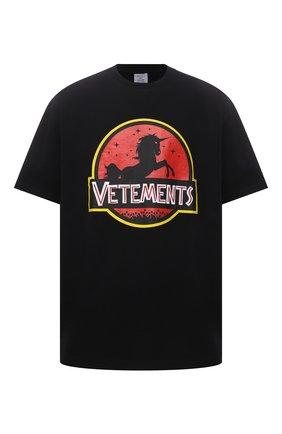 Мужская хлопковая футболка VETEMENTS черного цвета, арт. UA52TR320B 1602/M | Фото 1