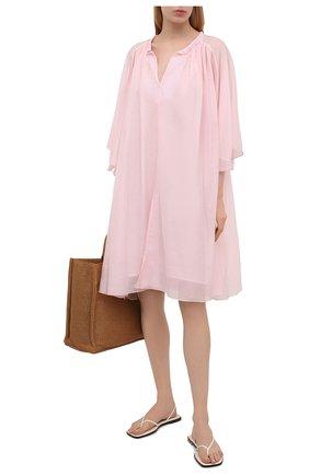 Женская туника из хлопка и шелка LILA EUGENIE розового цвета, арт. 2100 MINI | Фото 2
